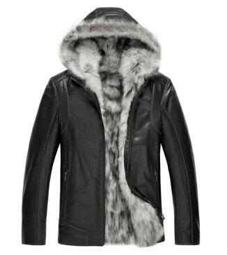 新品 セレブレザー 本革 毛皮 羊皮 リアルフォックスファー狐キツネフード付きパーカージャケットJKT ボア M-4XL ブラック黒 ワインレッド メンズ