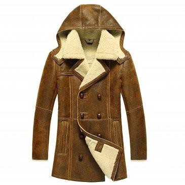 celebleather 羊皮 カモフラージュ フード付き ジャケット メンズ 毛皮 バイカー 長いセクション cf-bj-3059 ブラウン