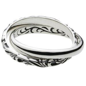リング 指輪 シルバー925 シルバーアクセサリー シルバーリング アクセサリー 唐草 プレーン シンプル 知恵の輪 ファッション二連ツイン メンズ