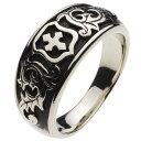 ホワイトメタルリング 指輪 メンズ 植物 十字架 盾 シールド 紋章 エンブレム 中世ヨーロッパ 騎士 ナイト 葉 リーフ ゴシック