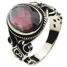 ホワイトメタルアクセサリーリング・指輪シェルチェッカーリングr5022