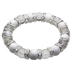 【ハウライト 水晶 ロンデル】10mm玉数珠ブレスレット パワーストーン 天然石アクセサリー【cenote t7037】