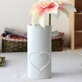 ブリリアントハート花瓶日本製美濃焼花器フラワーベース花瓶花入れ花束廊下玄関和室エントランス中型造花ハート陶器磁器陶磁器瀬戸物カフェおしゃれオシャレ