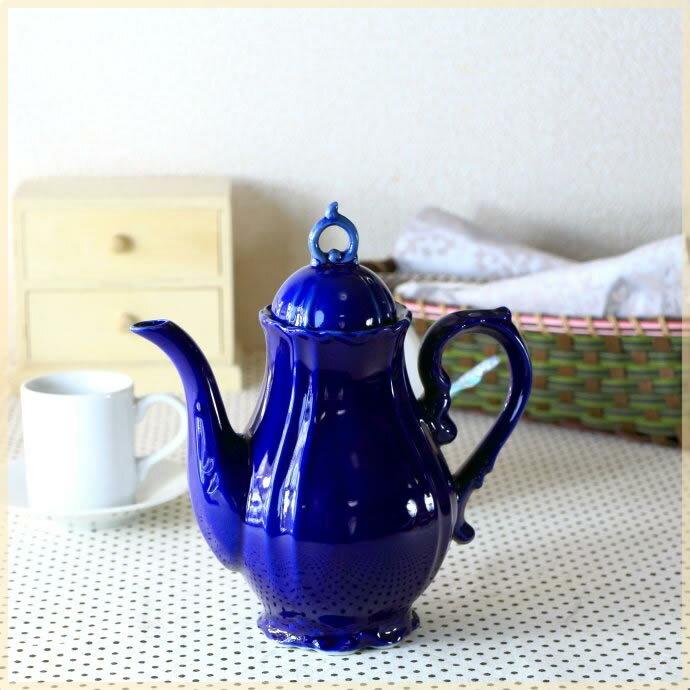 アンティーク調の2〜3人用ティーポット 限定色:紺 北欧 アンティーク風 ティーバック シノワズリ調 国産 カフェ食器 青い食器 訳あり