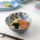 かりゆし麺鉢18.4cm日本製美濃焼6.3麺鉢沖縄ぞば麺鉢丼どんぶり大鉢うどん鉢そば沖縄食器やちむん風食堂青青い食器食器うつわ器皿お皿陶器磁器