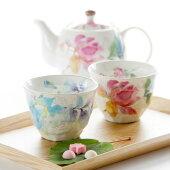 和食器ペアポット茶器ポット煎茶碗セットギフト【ばらの香】