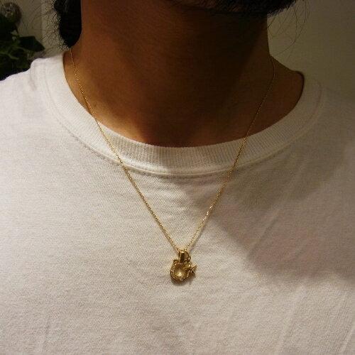 SYMPATHY OF SOUL Horseshoe Amulet - K18Yellow Gold w/Diamond+Small Star Charm - K18Yellow Gold+K18-2段階アジャストチェーン(太0.33)50cm