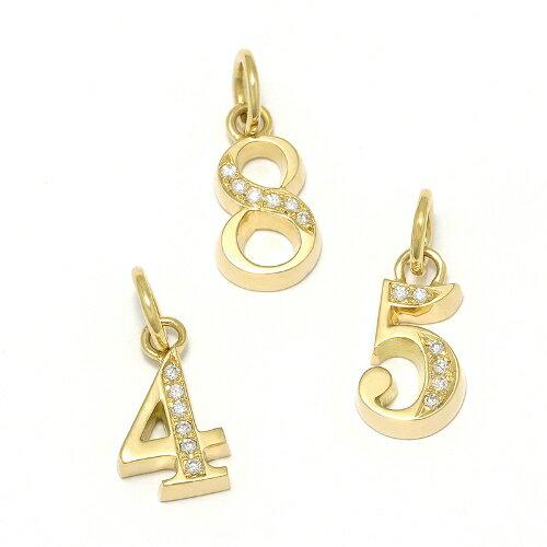 SYMPATHY OF SOUL Number Pendant - K18Yellow Gold w/Diamond