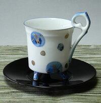 美濃焼染付椿レトロコーヒーカップ