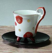 美濃焼赤絵椿レトロコーヒーカップ(赤色)