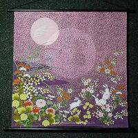 ちりめん友禅タペストリー『月見うさぎ』(掛軸)(蛍光染)