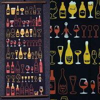 手拭いタペストリー『Counterback』(タペ棒セット)【バー、酒、ワイン、ウィスキー/手ぬぐい/掛軸】(包装、のし不可)