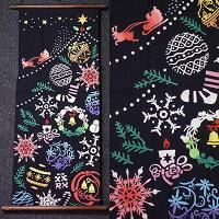 手拭いタペストリー『OrnamentTree』(タペ棒セット)【冬/クリスマス/サンタクロース、クリスマスツリー/イベント/手ぬぐい/掛軸】(包装、のし不可)