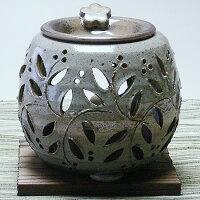常滑焼石龍茶香炉(灰黒色、全花柄)