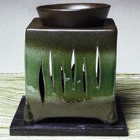 常滑焼山房窯茶香炉(緑色、灯篭柄)【合計金額次第送料無料】(ロウソク10個・茶さじ付)【父の日/敬老の日ギフト】