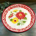 【(1)ホーロ-平皿30cmお花5】花柄華やかな花柄皿タイ料理エスニック料理タイ雑貨アジアン雑貨食器陶器