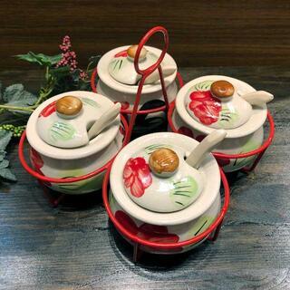 【にわとり食器 調味料入れ】薬味入れにわとり陶器にわとり食器にわとり柄タイ料理アジアン料理タイ雑貨