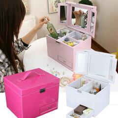 コスメボックス メイクボックス メークボックス 三面鏡付きコスメボックス クチューレ【激安】...