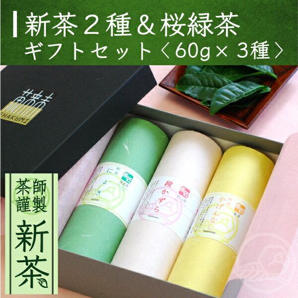 【新茶】筒型60g新茶×2種&桜緑茶詰め合わせ /母の日/ギフト/贈り物/煎茶/お茶/