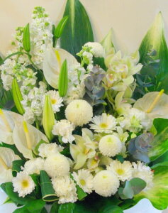 お悔やみお供え花(白・グリーン)f10001
