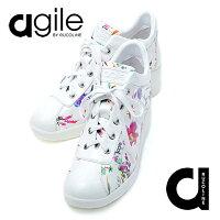 ルコライン,靴,アージレ,RUCOLINE,agile,MUSTLUXエナメル調,ホワイト,花柄ファスナー付,agile-181WH