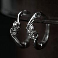 耳が痛くなりにくい,ピアリング,K14WG,ダイヤモンド,ウェーブライン,ピアスみたいなイヤリング