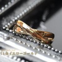 18金,リング,指輪,k18リング,18金ゴールドリング,多面カット,ウェーブライン,2連調,デザインリング