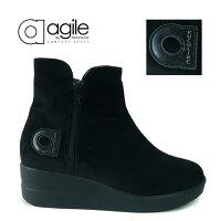 ルコライン,agile,アージレ,RUCOLINE,靴,agile-318,VELLUTOCHIC,ブラック,ショートブーツ,Wファスナー,