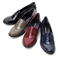 ローファー,パンプス,ウエッジソール,軽量,日本製,靴,レディース,婦人靴,エナメル調,合成皮革,3E