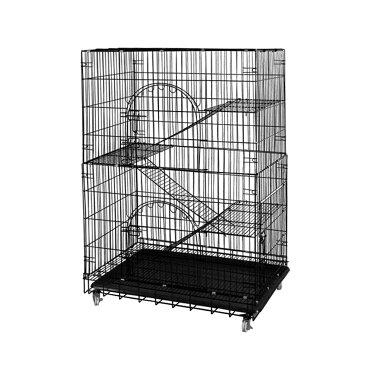 ONE STEP ペットケージ 猫ケージ ネコケージ ねこけーじ キャットケージ 室内 2段 3段 工具不要 折りたたみ式 簡単組み立て ハンモック、プラットフォーム、ハシゴ、パレット、ホイール付き (ブラック、ホワイト) 日本語説明書付き (4段, ブラック)