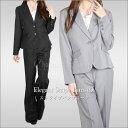 ストライプパンツスーツ 1つor2つボタン ブラック 黒 グレー チャコール M(9号?11号…