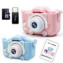 【最安値】子供用 デジタルカメラ トイカメラ 32GB SDカード付き 日本語取扱説明書付き プレゼント トイカメラ キッズカメラ 自撮可能 猫 ピンク ブルー ミニカメラ 定番・・・