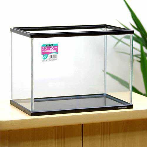 ニッソー カラースリー(ブラック) Mサイズ(359×220×262mm) 36cm水槽 フタ付