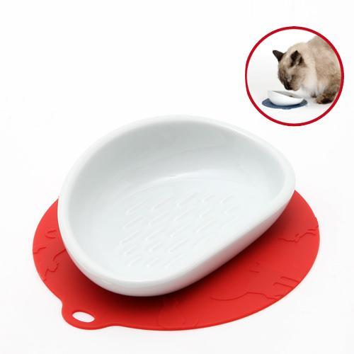猫 食器 ハリオ にゃんプレ レッド ロングヘア 長毛種 食器 関東当日便