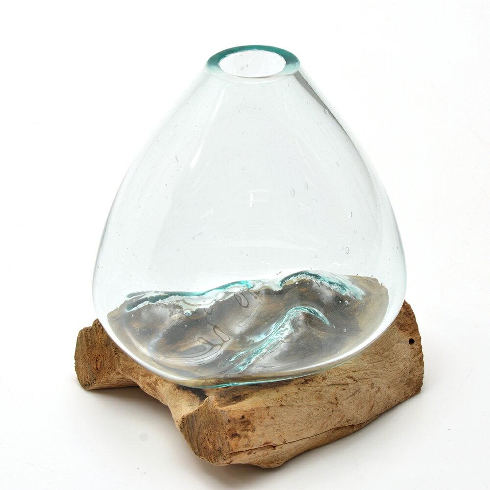一点物 ラウンドガラス 流木スタンド付(239488)コケ テラリウム ガラス インテリア 瓶