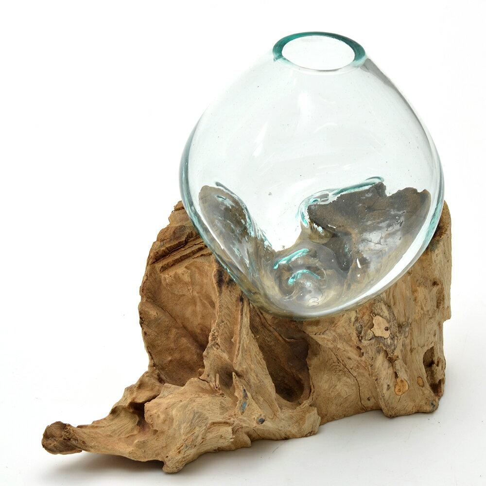 一点物 ラウンドガラス 流木スタンド付(239490)コケ テラリウム ガラス インテリア 瓶