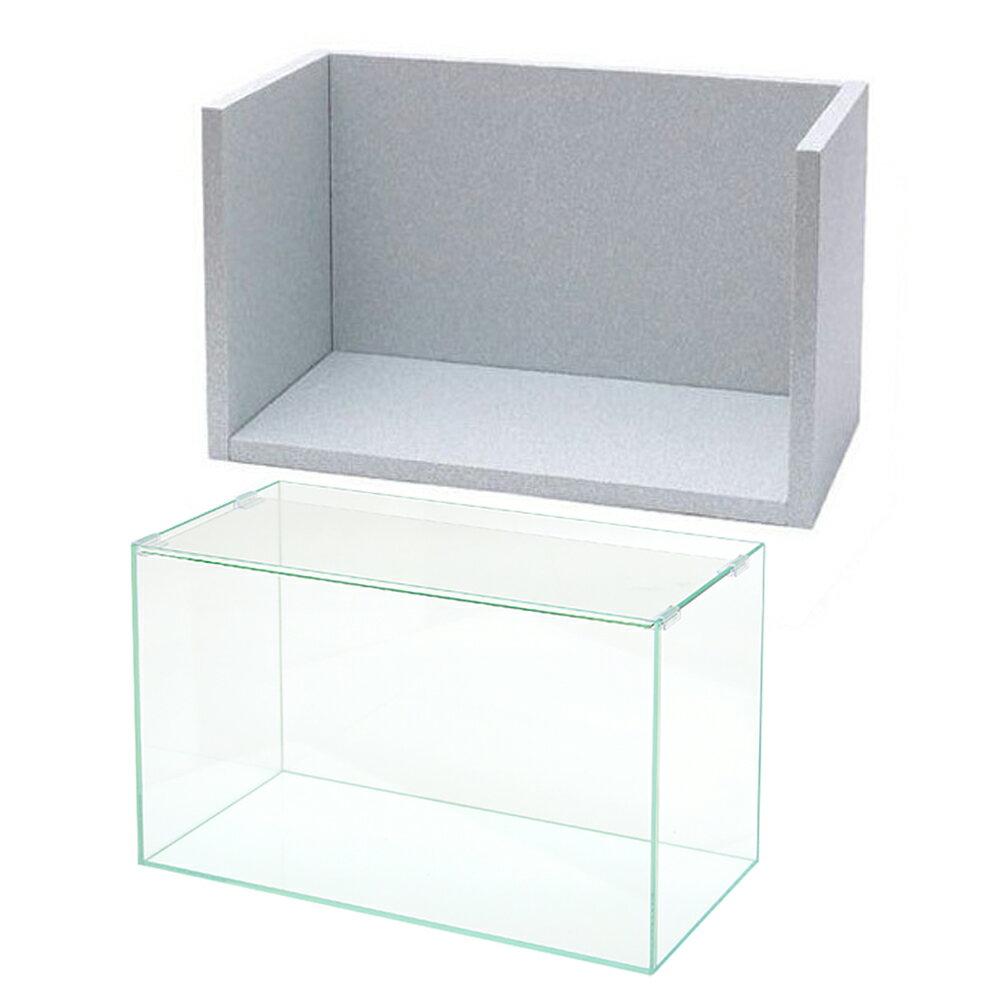 オールガラス水槽 アクロ60 + エコルノ60 4面タイプ 60cm水槽用(側面2枚・背面1枚・底面1枚)