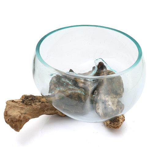 一点物 ラウンドガラス 流木スタンド付(380478)コケ テラリウム ガラス インテリア 瓶