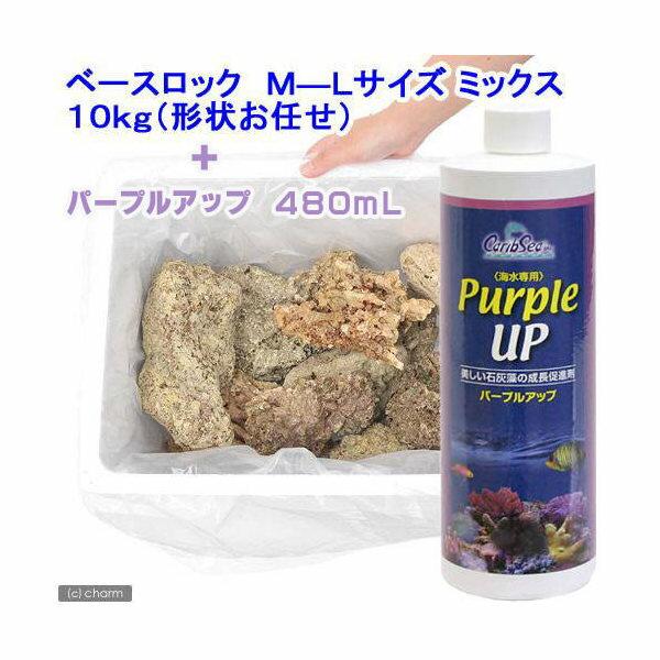 (海水魚)形状お任せベースロック M-Lサイズミックス(10kg)+パープルアップ480mLセット 本州・四国限定