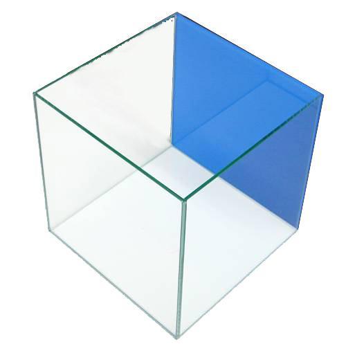 クリスタルキューブ300(30×30×30cm)バックスクリーン(アクアブルー)貼付済み 30cm水槽