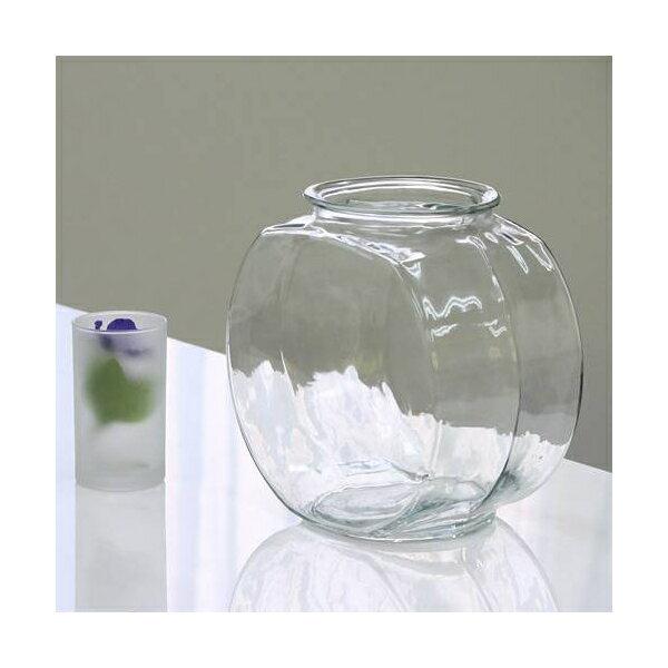 おしゃれなガラス製金魚鉢 太鼓鉢 中(3.8リットル)