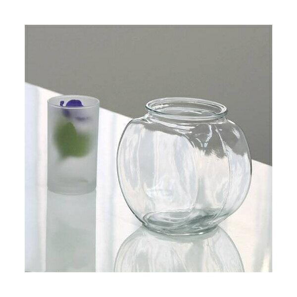 おしゃれなガラス製金魚鉢 太鼓鉢 小(1.2リットル)