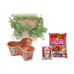 いちごタワー栽培セット ハーベリーポット×3・培養土・肥料の5点セット 苗別売り 家庭菜園