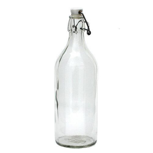 ボトル ふた付き 1L クリアガラス