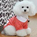 犬 ドッグウェア シャツ レース リボン 犬用服 ペット用品 春服 Red レッ…