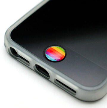 LIM'S レインボー ボタン ステッカー iPhone8 iPhone7 iPhone6S iPhone6 PLUS iPhone SE iPhone5S iPhone5C iPhone5 iPhone4S iPad mini iPod touch 5 6 アイフォン ホームボタン シール