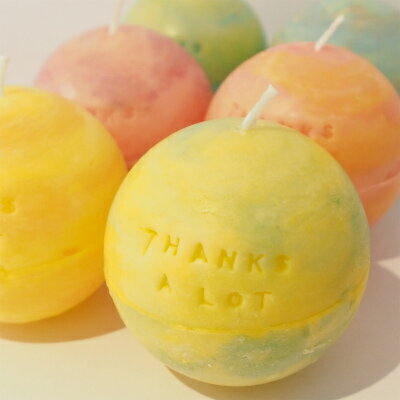 ハンドメイドキャンドル メッセージ 『THANKS A LOT』イエロー系ル・プティ・ボヌール 感謝 ありがとう バースデイ バースデー ケーキ キャンドル 記念 アロマキャンドル かわいい 雑貨 誕生日 ブライダル 結婚式 父の日 お中元 暑中見舞い