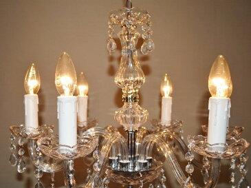 シャンデリア 【GOTHSIL6】 ゴスシル6  ガラス製6灯 6畳 8畳 店舗 直径約56センチ北欧ゴシック仕様 シーリングライト (天井照明)