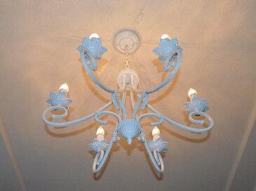 シャンデリア 【LILY6M】リリィ6Mホワイト6畳 8畳 アイアン シャンデリア 半つや消し白フレンチカントリー シーリングライト(天井照明)