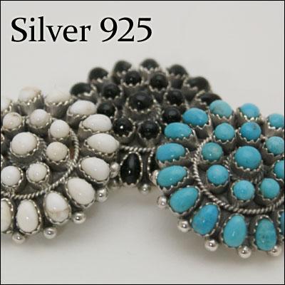 コンチョ CS-692/Silver925フラワー シルバーコンチョ ターコイズ オニキス ...